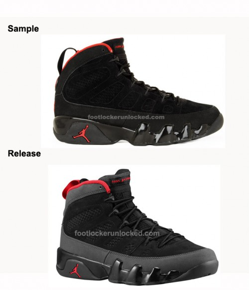 What Changed on This Sample  Jordan Retro 9 Charcoal 78fb0c881c