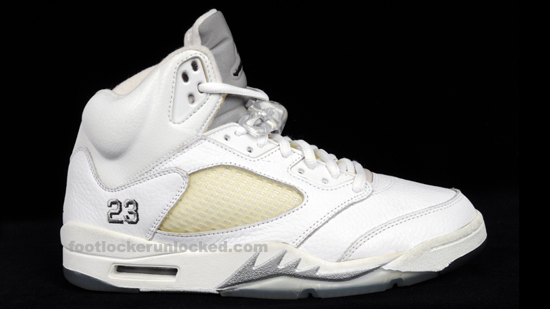 Air Jordan Retro 5 White Metallic