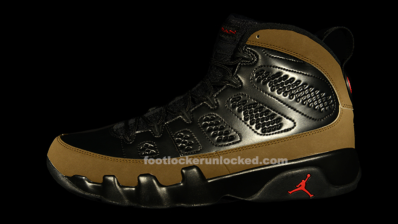 "77a0619c2b1 Jordan Retro IX ""Olive"" – Foot Locker Blog"