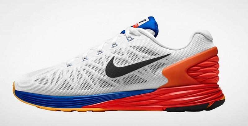 Nike Lunarglide 6 Blanco Azul Naranja