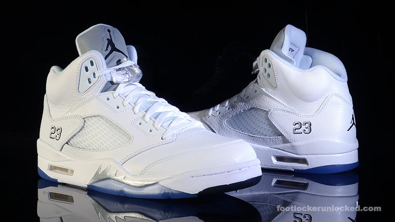 Air Jordan 5 Retro Metallic Silver White Shoes