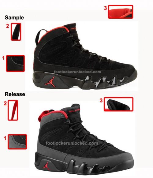 Sample: Jordan Retro 9 Charcoal