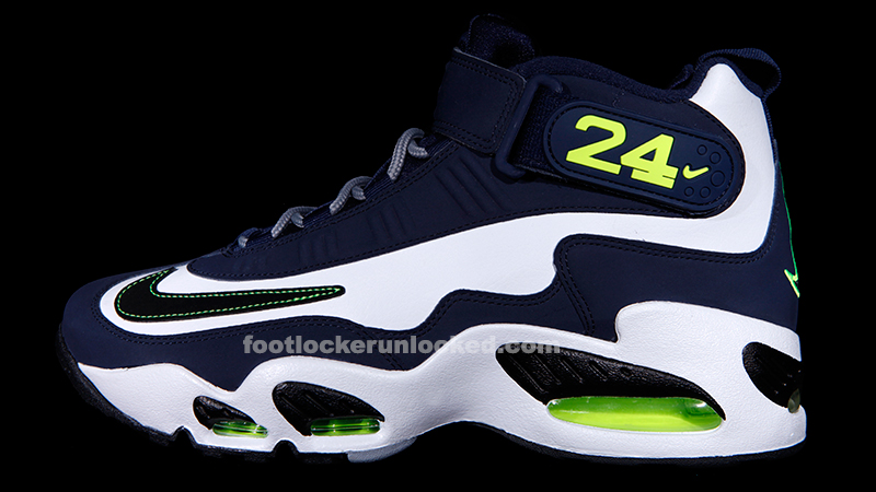 56adf095cfbd65 Nike Air Griffey Max 1 Navy White Volt – Foot Locker Blog