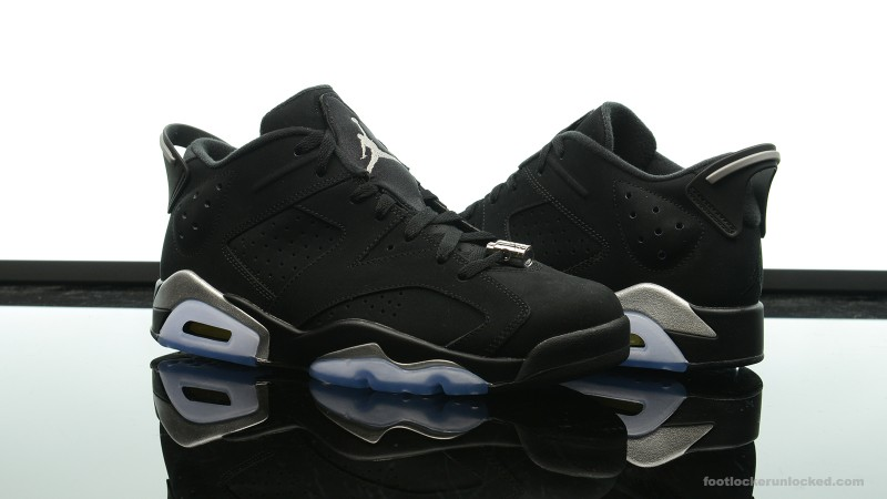 "d4a5401e15a4ab Jordan Retro VI Low ""Black Metallic Silver"" – Foot Locker Blog"