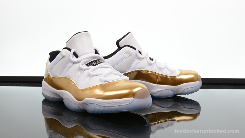 "fc3ab774482 Air Jordan 11 Retro Low ""Metallic Gold"" – Foot Locker Blog"